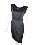 CHRISTIAN DIOR - ROBE COCKTAIL NOIRE PLASTRON PERLES