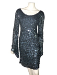 ROBE COCKTAIL EN SEQUINS NOIRS